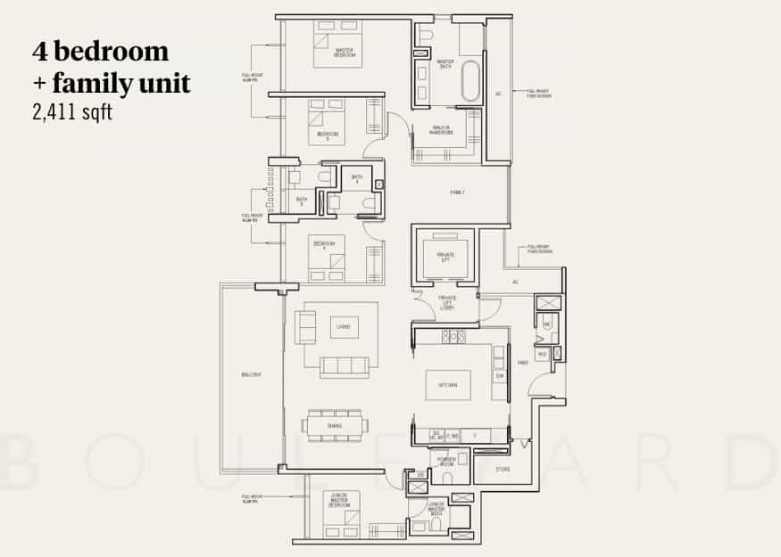 The Avenir condo floorplan 4 bedroom plus family room