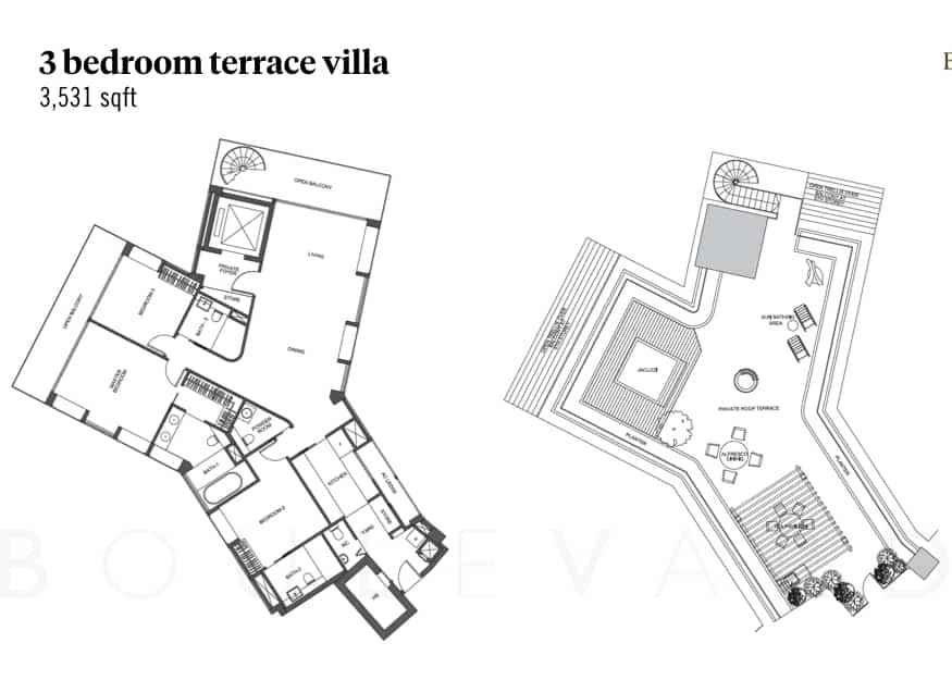 Belle Vue Residences 3 bedroom terrace villa floorplan