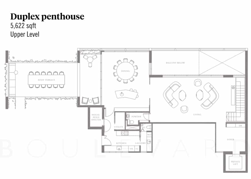 Meyerhouse floorplan duplex penthouse upper level