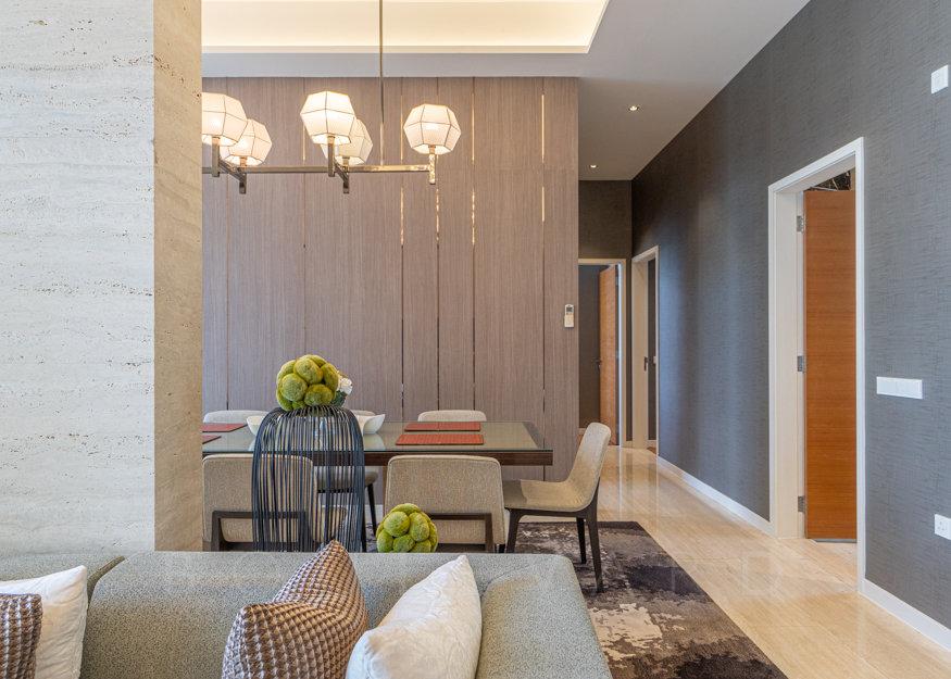 Cyan penthouse dining room